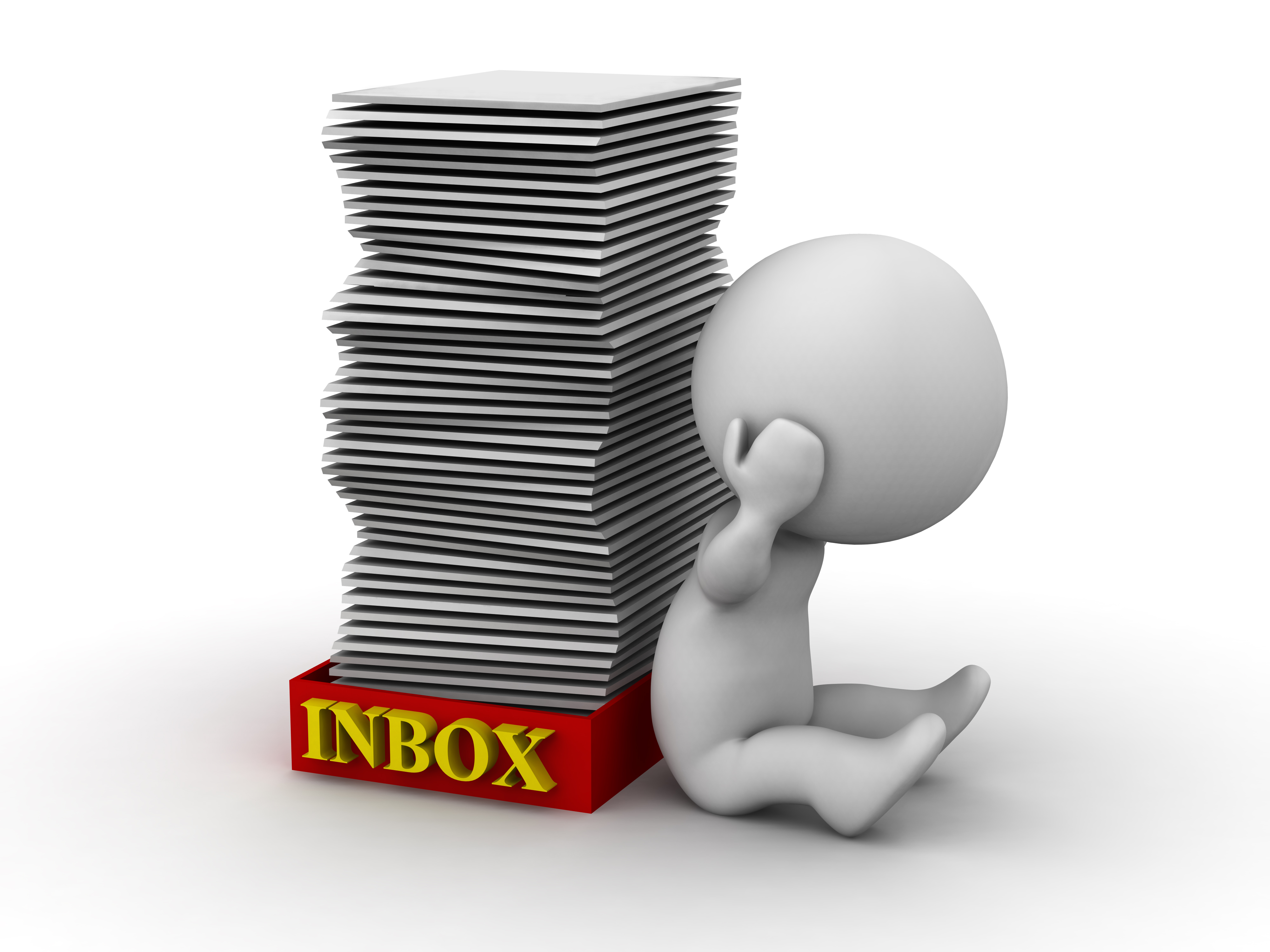 Image of a person with a pile of Inbox emails