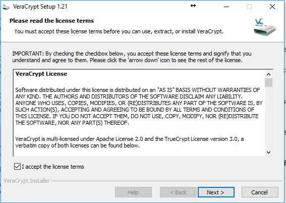 Image of accepting the VeraCrypt licence